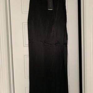 Zara black satin wide leg pant